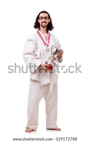 Funny karate fighter with cup on white - stock photo