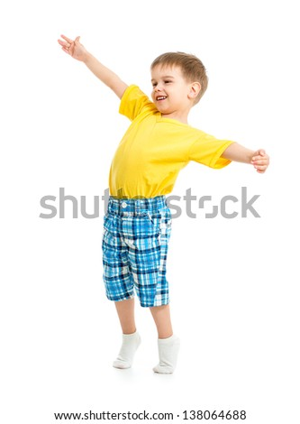 Funny kid boy with open arms isolated on white studio shot.