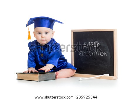 funny kid with book in academician clothes at chalkboard isolated - stock photo