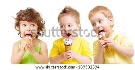 funny kids group with icecream isolated - stock photo