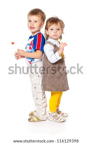 Funny kids in a studio. Isolated on a white background - stock photo