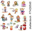 Funny kids on a white background. Freehand drawing. Child's picture book - stock photo