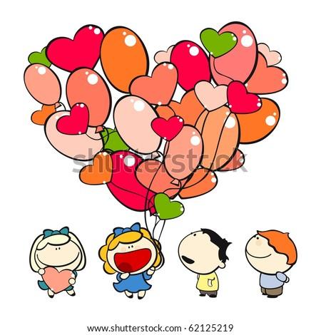 Funny kids #15 - valentine's day (raster version) - stock photo