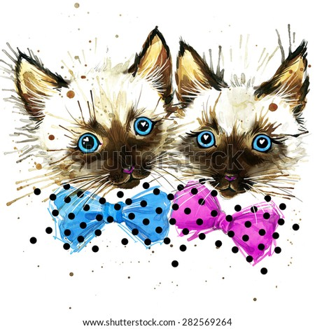 Funny kitten T-shirt graphics, Funny kitten  illustration with splash watercolor textured background. illustration watercolor kitten  fashion print, poster for textiles, fashion design - stock photo