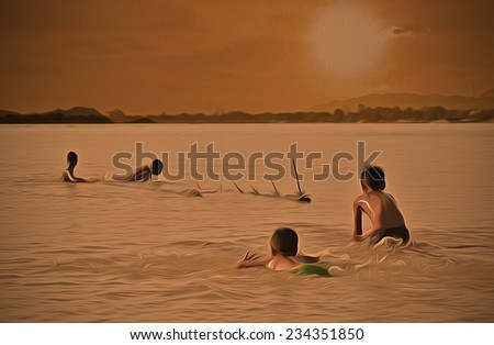 funny lake children swim and sunset