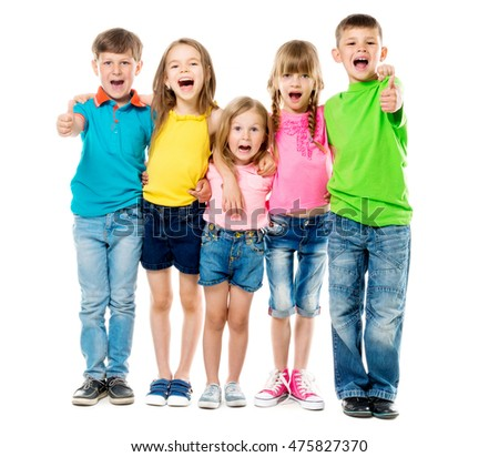 funny laughing children embracing each other with thumbs up in colorful clothes isolated on white background