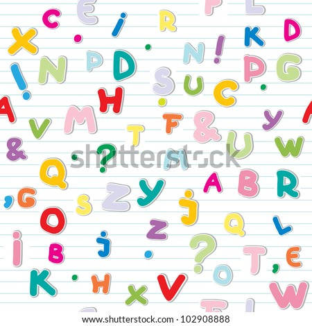 funny letters stickers pattern over a lined paper