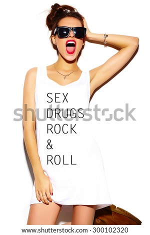 Funny lifestyle crazy glamor stylish sexy smiling beautiful young woman model in summer bright hipster cloth with - stock photo
