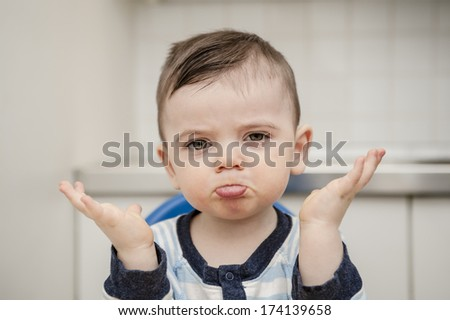 Funny little boy - stock photo