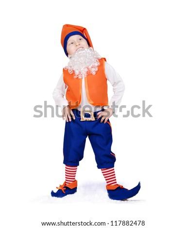 Funny little boy dressed like christmas elf - stock photo