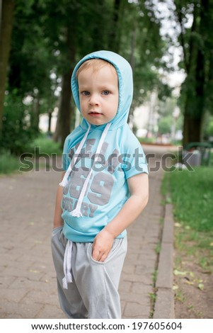 Funny little Boy. Fashion Children. - stock photo