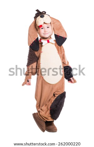 Funny little boy posing in a dog costume. Isolated on white - stock photo