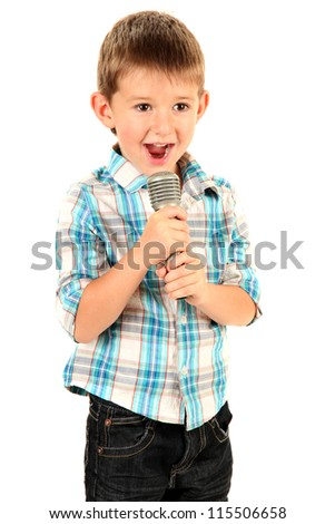 funny little boy with microphone, isolated on white - stock photo