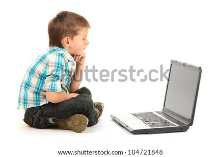 funny little boy with notebook isolated on white - stock photo