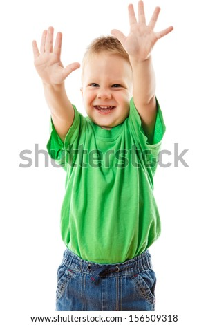 Funny little boy with raised hands, isolated on white - stock photo