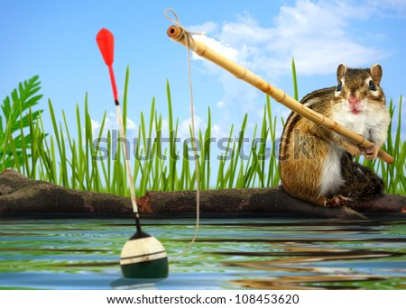 Funny Little chipmunk fishing with fishing-rod, angler concept - stock photo