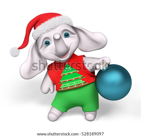 Funny little elephant cartoon character holding christmas bauble decoration isolated 3d rendering