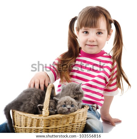 funny little girl  and british kitten cat. isolated on white background