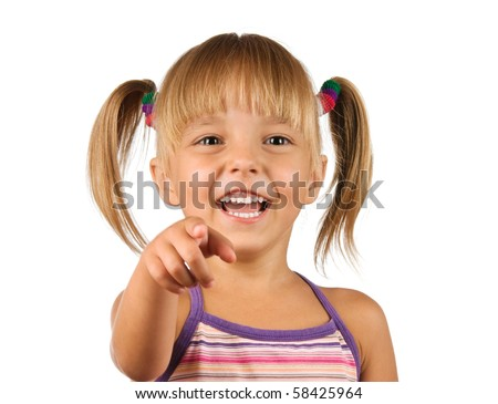 Funny little girl. Good for borders of articles or websites. Beautiful caucasian model. Isolated on white background.