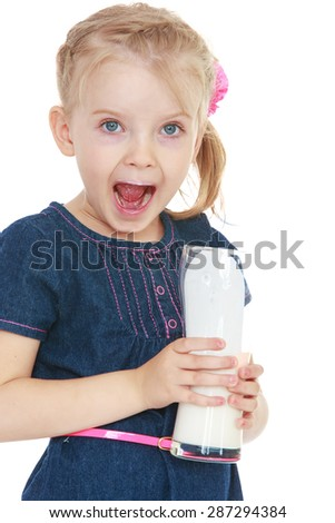 Funny little girl holding a glass of milk , close-up-Isolated on white background - stock photo