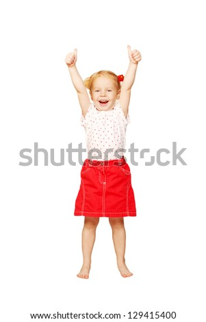 Funny little girl in a red skirt showing thumbs up sign or OK symbol. Ready for your logo, symbol or text. Isolated on white background - stock photo