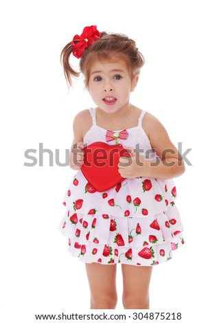 Funny little girl in short summer dress pressed her hands to her chest heart . Closeup-Isolated on white background - stock photo