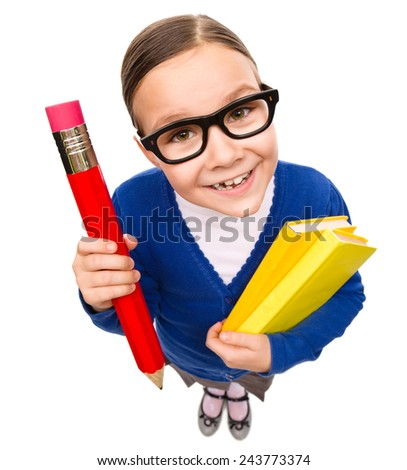 Funny little girl is holding books, fisheye portrait, isolated over white - stock photo