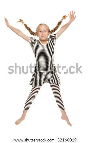 Funny little girl jumping - stock photo