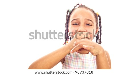 Funny little girl playing music-collection - stock photo