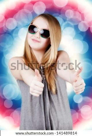 funny little girl. young happy girl. - stock photo