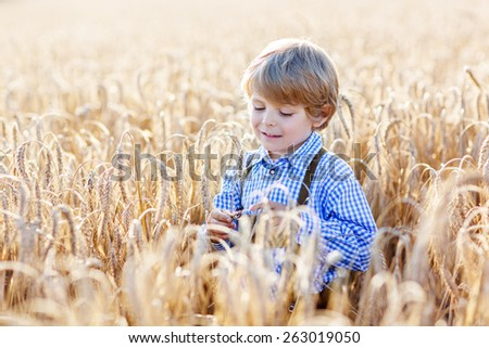 Funny little kid boy in traditional German bavarian clothes, leather shorts and check shirt, , walking happily through wheat field near  hay stack or bale.  - stock photo