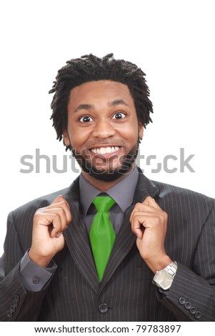 Funny looking black businessman - stock photo