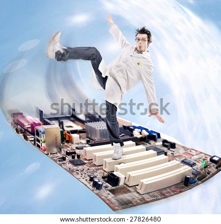 Funny looking madman scientist on a motherboard - stock photo