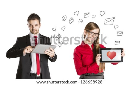 Funny love in social media and internet communication. - stock photo