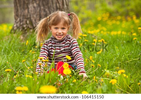 Funny lovely little five-year girl in park