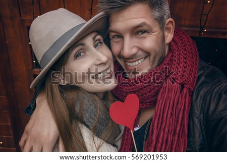 funny lovers couple outdoor smiling