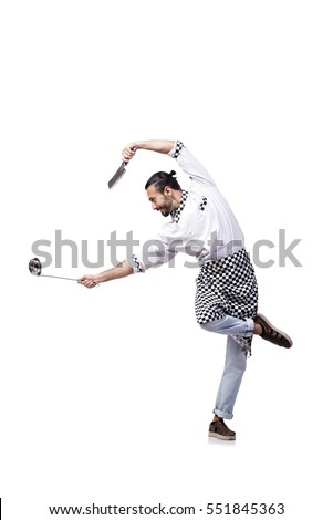 Funny male cook isolated on the white background