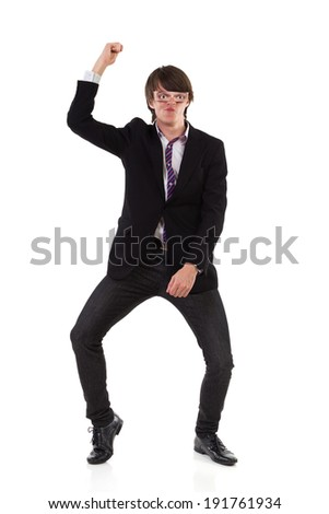 Funny male dancer. Elegance young man dancing funny. Full length studio shot isolated on white. - stock photo