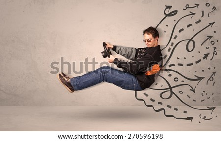Funny man driving a flying vehicle with hand drawn lines after him concept - stock photo