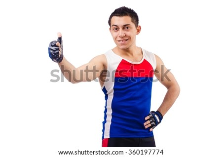 Funny man exercising on white - stock photo