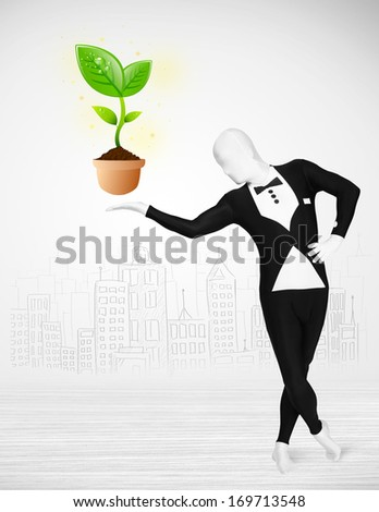 Funny man in full body suit with eco plant, ecological concept