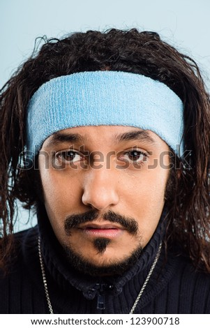 funny man portrait real people high definition blue background