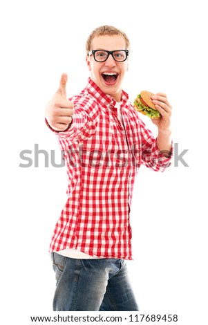 Funny man showing thumbs up and eating hamburger isolated on a white - stock photo