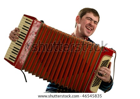 Funny man sing and play on accordion - stock photo