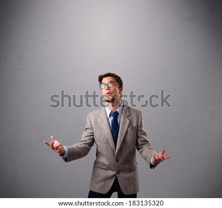 funny man standing and juggling with copy space