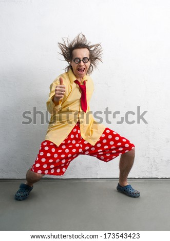 Funny man with a bright clothes