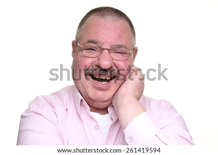 Funny man with a mustache - stock photo