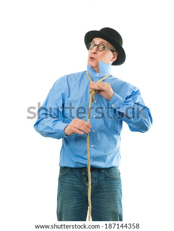 Funny man with a rope around his neck - stock photo