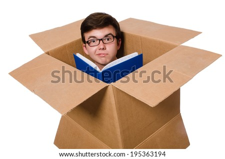 Funny man with boxes isolated on white - stock photo