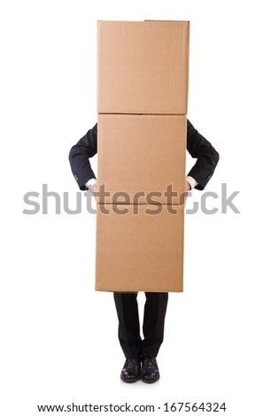 Funny man with boxes on white - stock photo